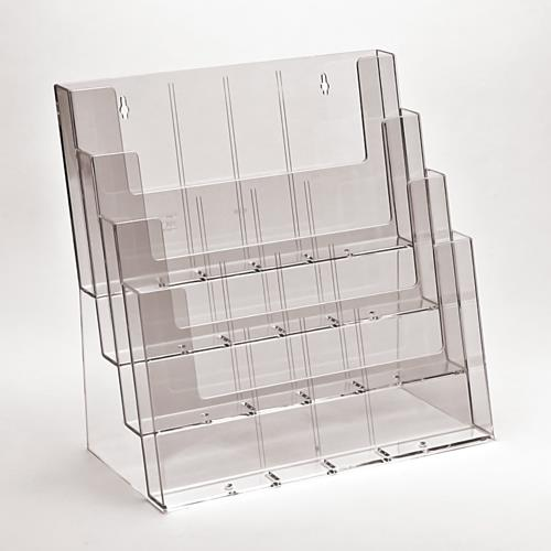 A4 Landscape Plastic Leaflet Holder - 4 Tier/Bay/Stack
