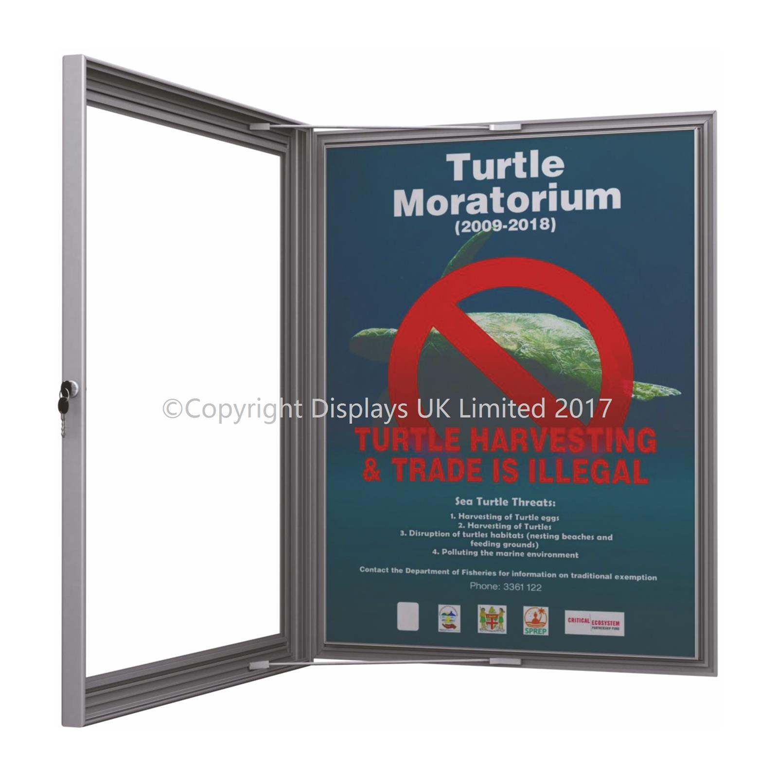 Lockable Poster Case & Menu Display Silver