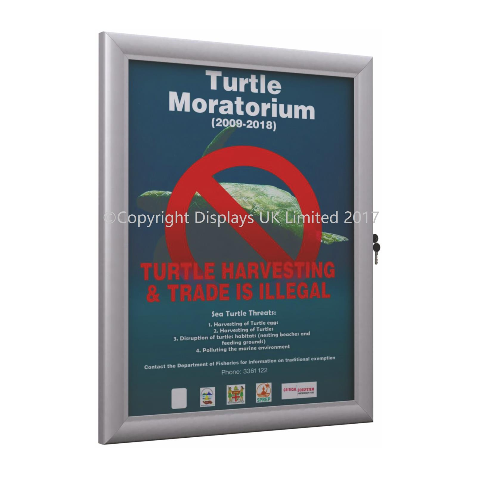 Lockable Poster Case & Menu Display Silver