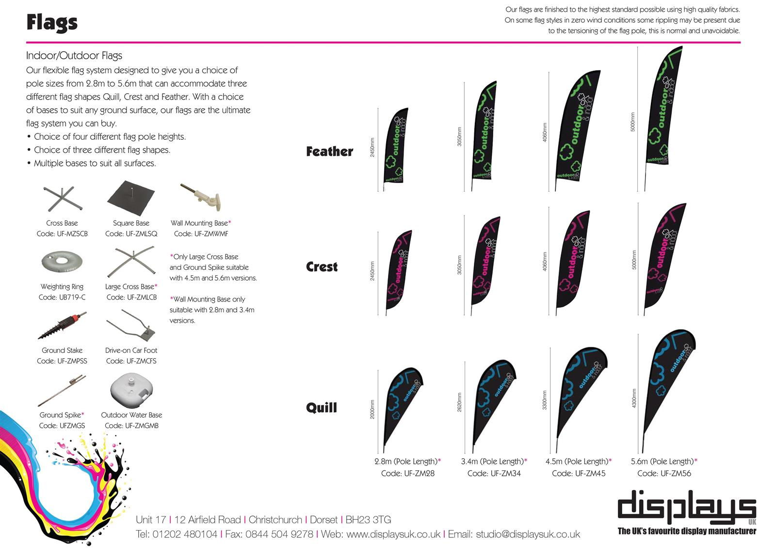 Quill Teardrop Outdoor Flags. S, M, L and XL