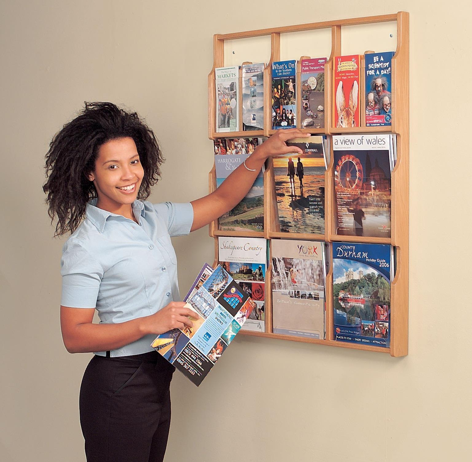 Oak Wall Mounted Brochure Holder