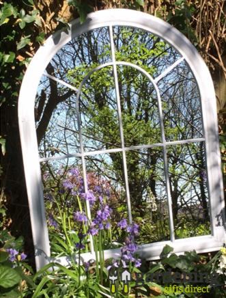 Curved Arch Top Metal Garden Mirror