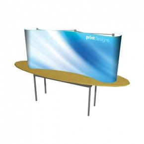 1x2 Curved Quick Tabletop Pop Up Display Stand