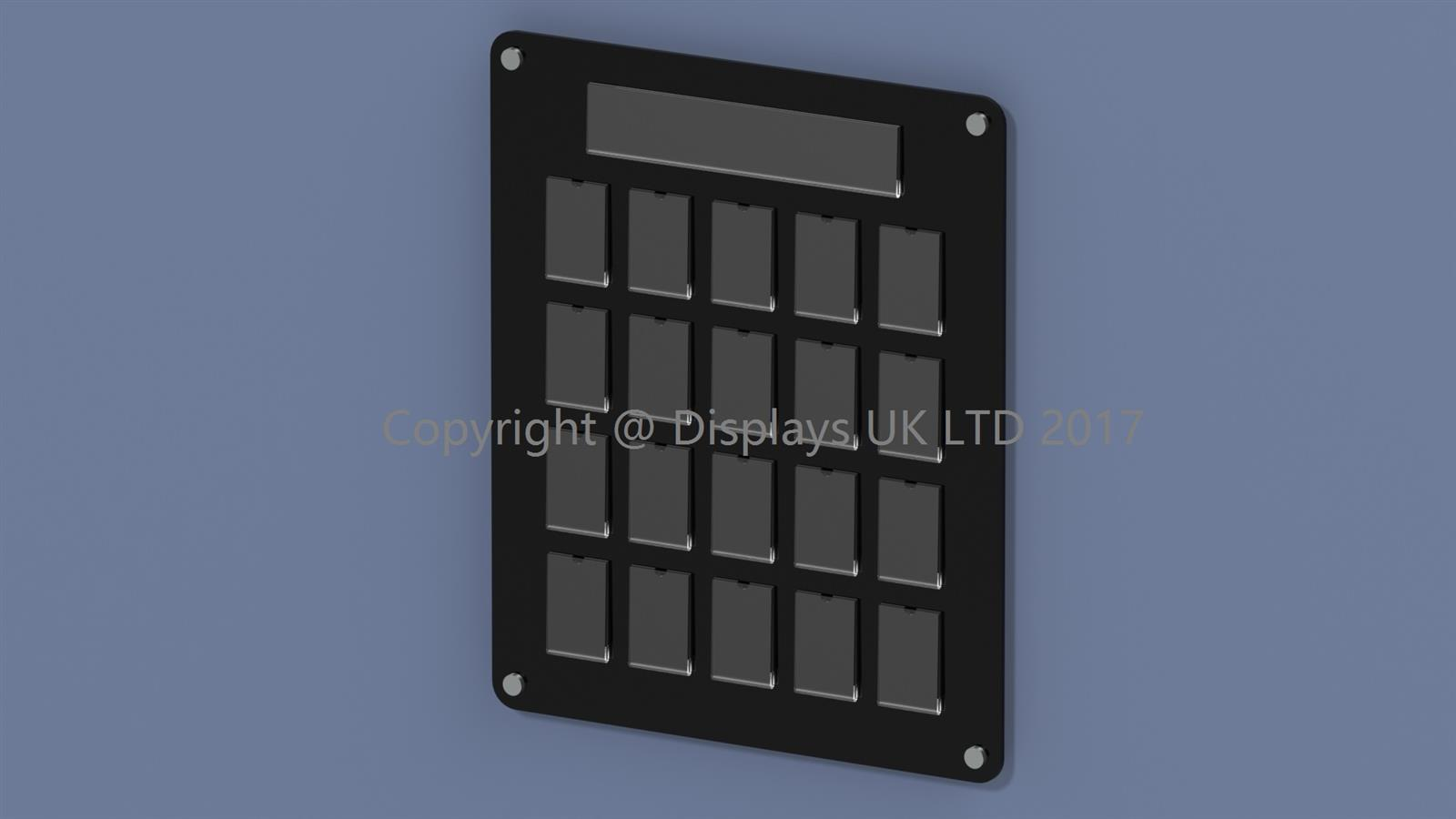 20 pocket staff photo board manufactured from Perspex acrylic. Perfect for schools colleges universities and business