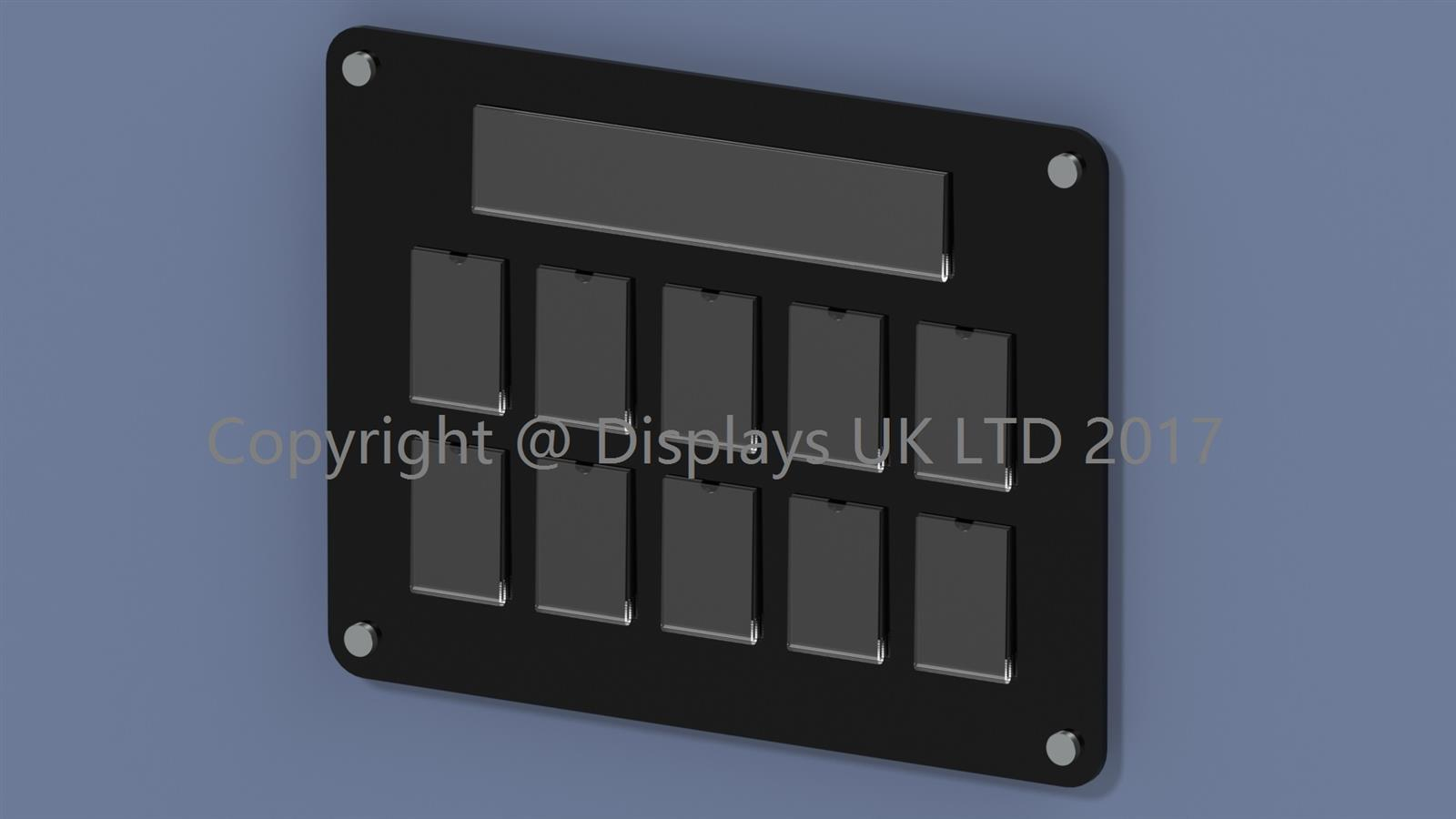 10 pocket staff photo board manufactured from Perspex acrylic