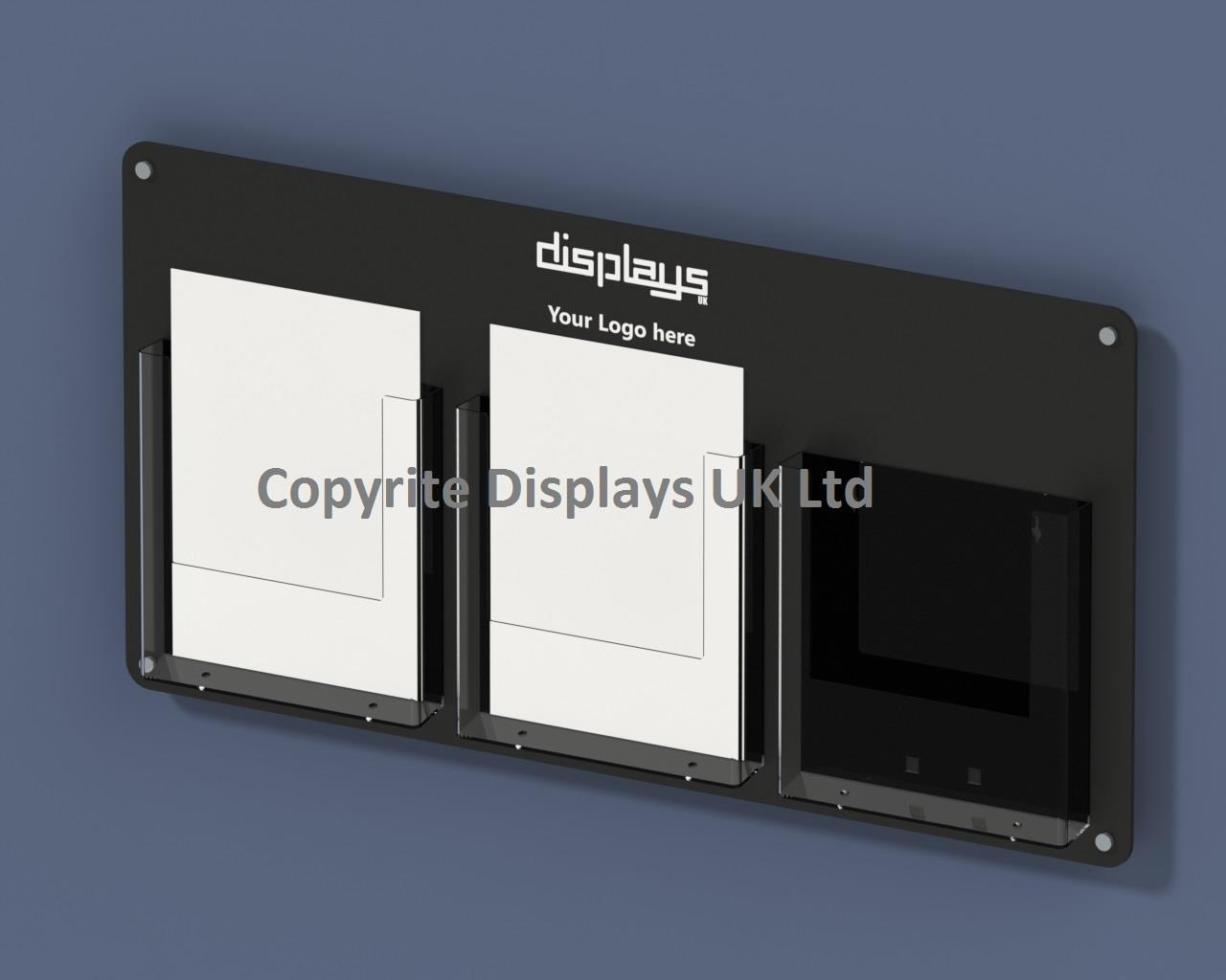 Vision Triple A4 Perspex leaflet Holder Wall Mounted