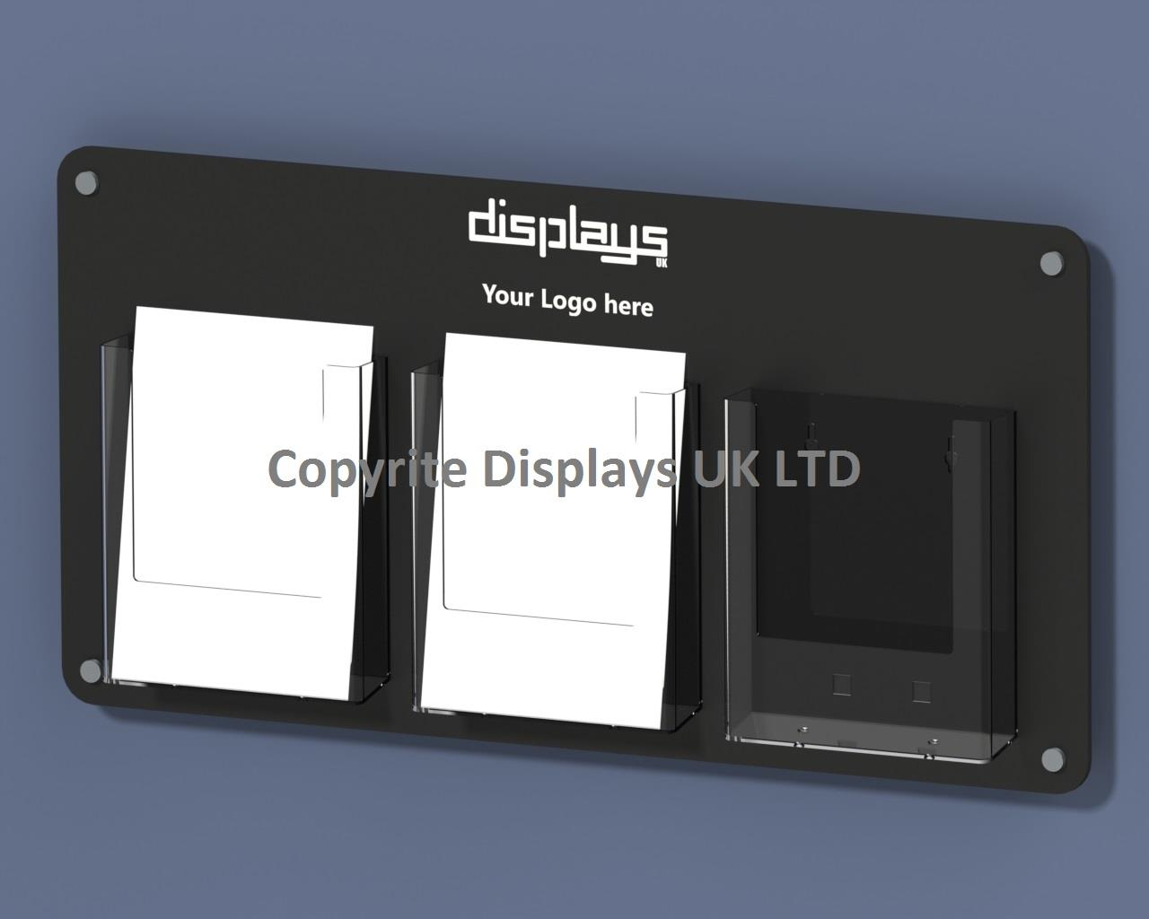 Vision Triple A5 Perspex leaflet Holder Wall Mounted