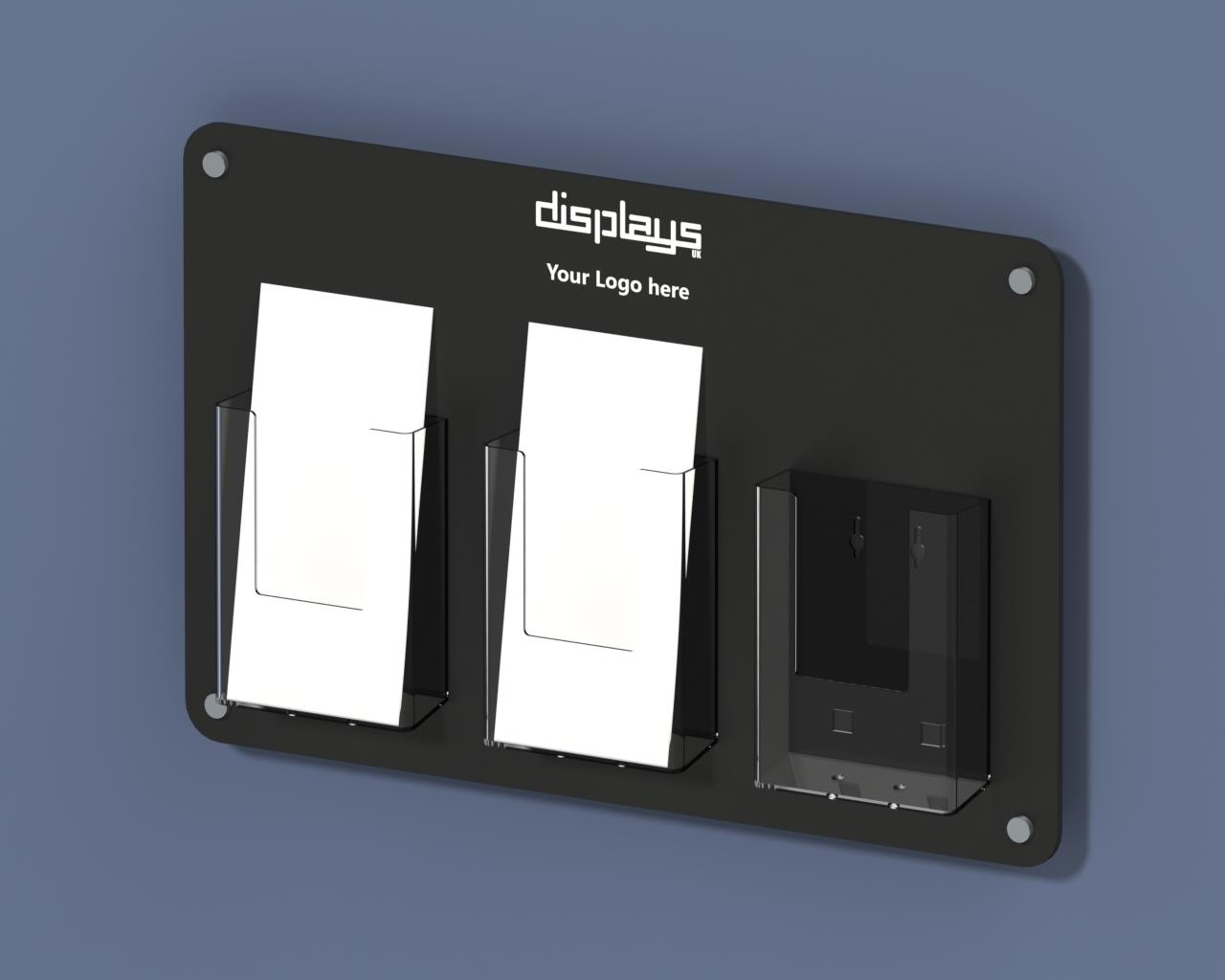 Vision Triple DL 1/3rd A4 Perspex leaflet Holder Wall Mounted
